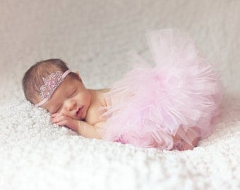 Newborn Princess Crown Tiara Headband - with Light Pink Rhinestones in Sliver Setting - Couture Newborn Photo Prop