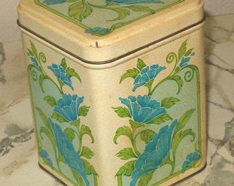 Vintage Blue Flower Non-Advertising Tin