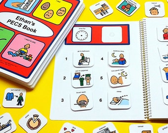My First PECS Book Set - 80 PECS Symbols - Velcro Included - Daily PECS Schedule and Communication Book - Choose a Boy or Girl Version!
