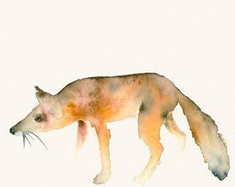 Running Fox Original Watercolor Painting