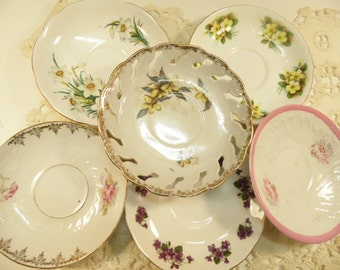 Mismatched Saucers Bone China Made In England Set Of 6 Wedding Reception Shabby Decor