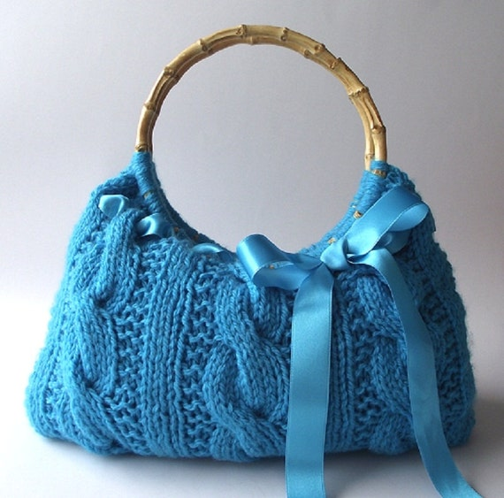 Knitted Bags Pattern : KNITTING BAG PATTERN Handbag with Lace Ribbon Lucia Bag