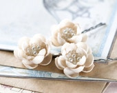 Beige hair flowers, Hair accessories, Flower pins, Floral pins, Hair piece flowers, Hair clips flowers, Flower clips, Bridal hair pins.