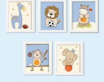 Baby boys nursery decor, sports wall art for boys room, nursery art print, nursery decor, safari animals, soccer, footbal, golf, basketball