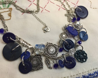 Vintage Blue Button Necklace w/Charms