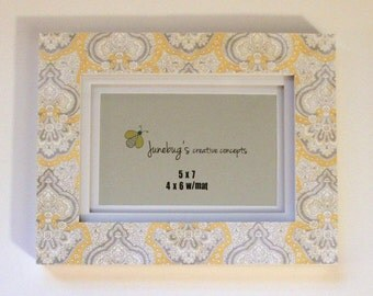 5x7 4x6 Yellow Gray Damask
