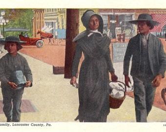 Vintage Postcard...Amish Family, Lancaster County, Pa....Unused...no. 2010