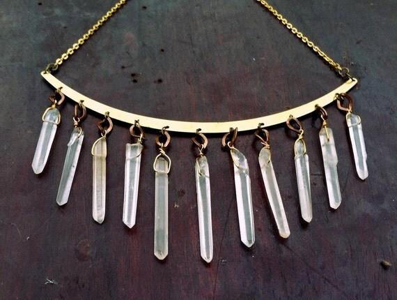 Quartz Crystal Raw Brass Large Collar Necklace Choker