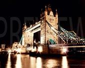 London Photo Tower Bridge at Night, London, London Photography, Travel Photo, Tower Bridge, London Bridge, Fine Art Photography