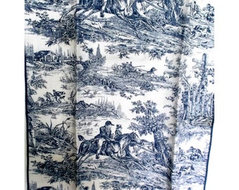 French Toile Equestrian Blue & White Linen towel 3 fold 15 x 24""