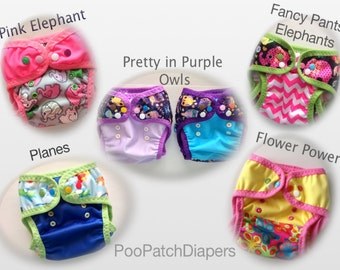 Swim Diapers -  Reusable - variety of PUL material with leg gussets and FOE (photo samples).  Message me with questions
