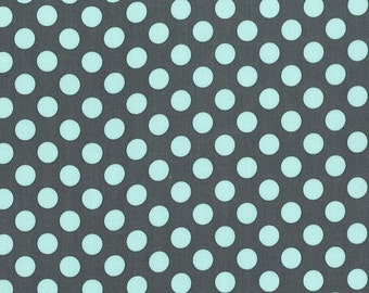 Ta Dot by Michael Miller - Powder Blue on Grey - FQ Fat Quarter yard cotton quilt fabric 516