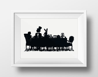 Alice in Wonderland- The Mad Hatter's Tea Party Giclée Archival Illustrated Print, Black and White Silhouette Literary Wall Art