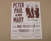 Vintage 1960's Peter Paul and Mary Concert Poster Event Poster