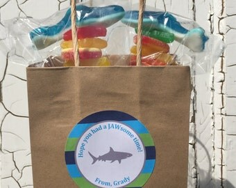 PREPPY SHARK Happy Birthday or Baby Shower Party Favor Tags or Stickers 12 {One Dozen} Green Blue - Party Packs Available