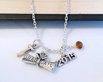 Personalized Graduation 2015 Necklace with Your Initial and Birthstone