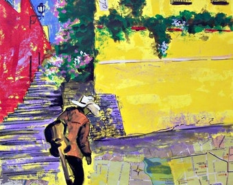 """Original mixed media art of man Mexican musician in a old town street, on paper  19.5""""x 27.5"""""""
