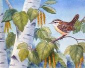 Wren Bird Print Birch Tree Art Watercolor Wall Decor by Janet Zeh