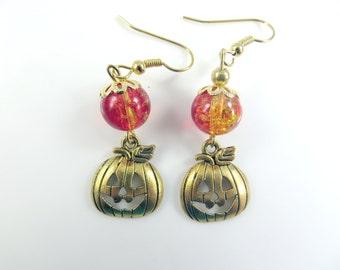 Golden pumpkin halloween earrings