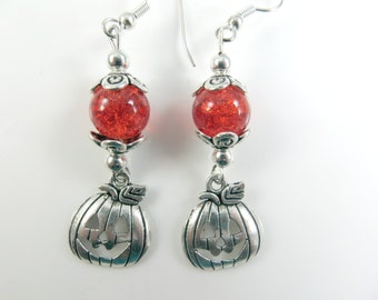 Orange and silver pumpkin halloween earrings