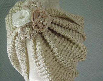 Wedding shawl, bridal shawl, wedding wrap , wedding capelet, bridal capelet, bridal accessories, wedding accessories, bridesmaid shawl, knit