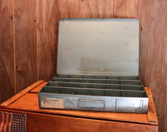 Industrial Metal Box Blue Divided Compartments Storage Vintage 1940s 40s (GR)