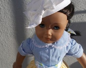 "18"" Doll Clothes -American Girl Doll  - 18"" Doll  Clothes - Doll Blue Gingham and Yellow Polka Dot  Dress and Pill Box Hat for 18"" doll"