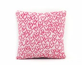 Scribbly Hearts Pillow - Lambswool / Leather pillow