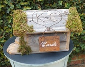 Unique Rustic Wedding Card Box Birdhouse With A Personalized Roof - Naturally Weathered Wood With Moss Accents And Rusty Tin Cards Sign