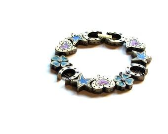 Avon Lucky Slide Brass and Enamel Bracelet  Shamrocks Horseshoes A Touch of Luck Horse Lover Gift