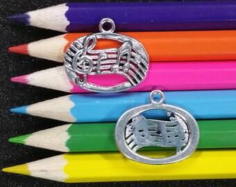 5 PCS - Musical Notes Music School Silver Charm Pendant C1025