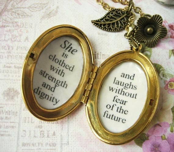 She Is Clothed With Strength And Dignity Bracelet: She Is Clothed With Strength And Dignity Locket Necklace For