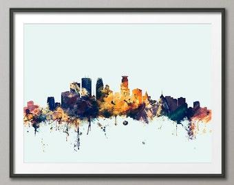 Minneapolis Skyline, Minneapolis Minnesota Cityscape Art Print (1865)