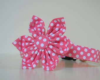Pink Polka Dot Dog Flower Collar Wedding Accessories Made to Order