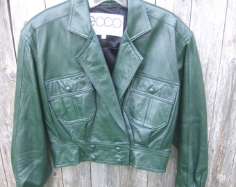 Hunter Green Cropped Leather Jacket, 80s, Excellent Vintage,