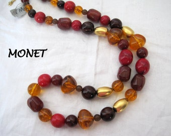 Red Amber Necklace - Signed Monet- Lucite Beads - NOS