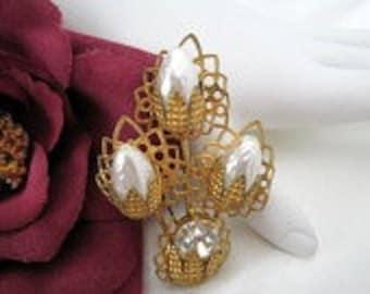 Pearl  Rhinestone Brooch Wedding Made in Germany Pin