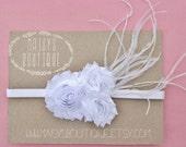 75% OFF 1920s Feathered White Clustered Flowers/ Wedding/ Baptism/Baby Headband/ Newborn Headband/ Flower Girl Headband/ Wedding Hair