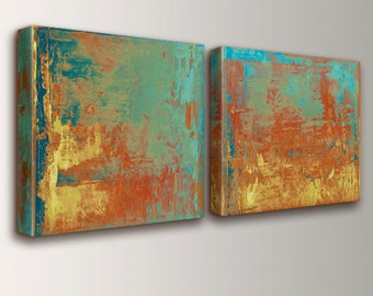 "Abstract Art, Canvas Art, Teal, Orange & Yellow - Abstract Painting, Canvas Print, Panel Art, Modern Art, Wall Art Set - "" Cabo """