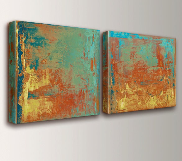 Abstract art canvas art teal orange yellow abstract for Teal wall art