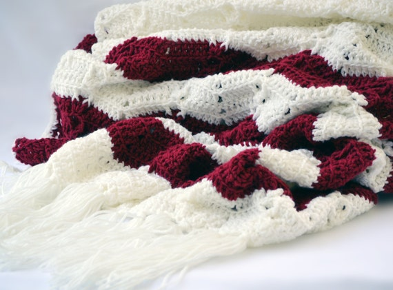 Crochet Wedding Gift: Romantic Crochet Blanket Wedding Gift Chevron Blanket