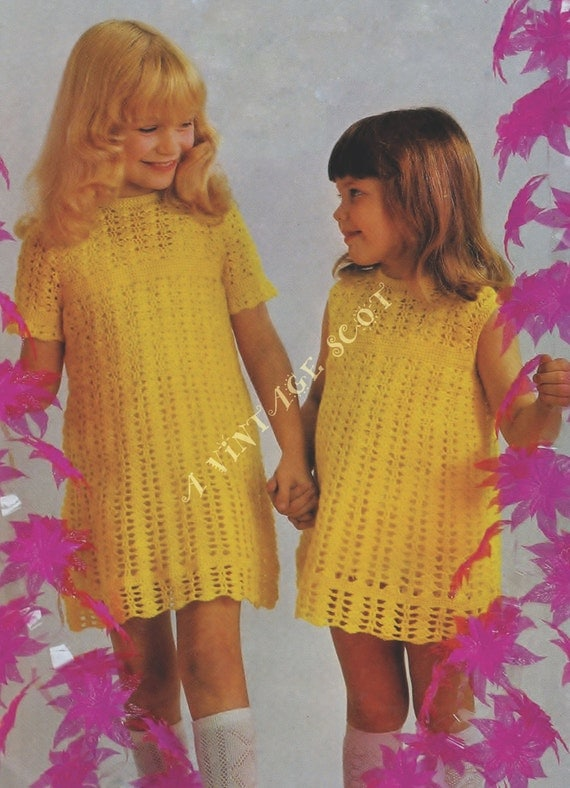 Girl's Crochet Lacy Dress 2 sleeve style optional instructions for 4ply in sizes  24 - 30 ins - PDF of Vintage Crochet Patterns