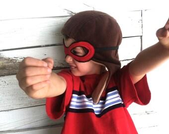 Aviator Fleece Hat with Adjustable Mask - Kids Costume - Airplane Pilot Hat