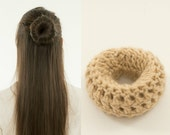 Small Blonde Bun Maker / Crocheted Donut Bun Maker, Handmade, Crocheted, Women's, Teens, Girls Hair Accessory, Crochet Hair Helper, Beige