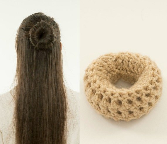Crochet Hair In A Bun : ... Bun Maker, Handmade, Crocheted, Womens, Teens, Girls Hair Accessory