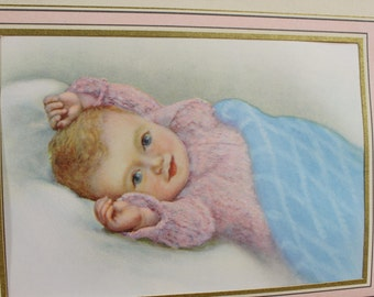 Antique Lithograph- Baby Image Print- 1950s- Pale Pink and Blue, Blonde Hair, Blue Eyes- Small Print- Baby Room Decor