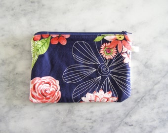 medium darkest blue and modern floral clutch zipper bag - cosmetics case, pencil case, purse organizer - back to school - art supply case