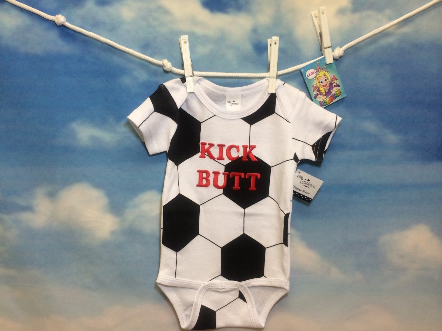 Baby Boys Onesie Soccer Ball Kick Butt By Akidsdreamboutique