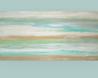 "ART Painting Beach Shabby Chic Original Acrylic Abstract Painting Titled: Blue Lagoon 10 30x60x1.5"" by Ora Birenbaum"