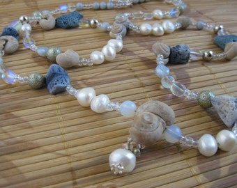 """Blue coral, pearl and fossil snail necklace with rainbow quartz and vintage beads -- """"Mermaids Love Necklace"""""""